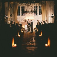Enchanted Candlelight Wedding Ceremony in a Rustic Country Chapel | onelove photography | Classic Winter Elegance for a Rustic Vintage Barn Wedding