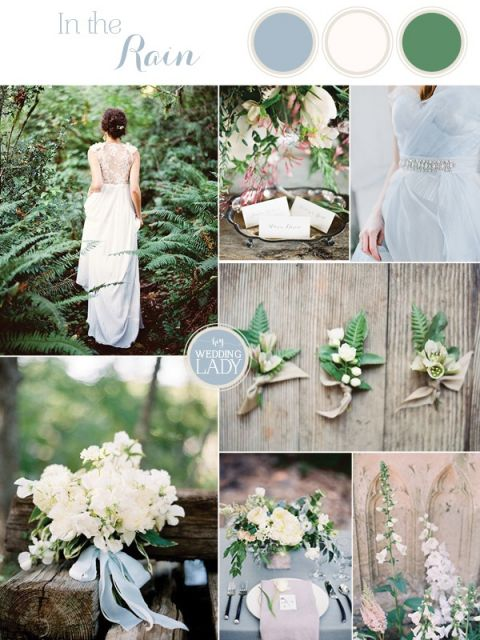 A Rain Washed Garden Wedding in Pale Blue and Green to Kick Off Spring!