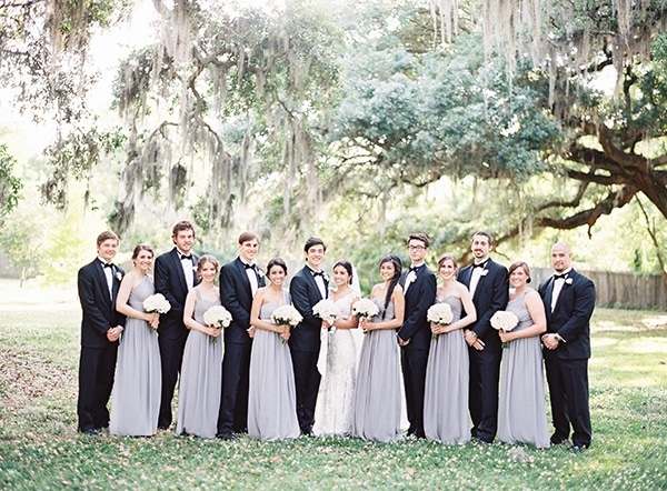 New Orleans Black Tie Wedding: White Peonies And Floral Lace For A Classic New Orleans