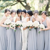 Elegant Gray Bridesmaids Dresses with Chic White Bouquets | Marissa Lambert Photography | White Peonies and Floral Lace for a Classic New Orleans Wedding