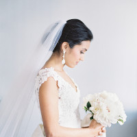 Dreamy Elegant Bride in a White Lace Dress | Marissa Lambert Photography | White Peonies and Floral Lace for a Classic New Orleans Wedding