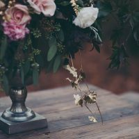 Romantic Floral Arrangement with Gold Painted Foliage | Mintwood Photo Co. | A Forest Fairytale Anniversary Shoot with a Bohemian Picnic