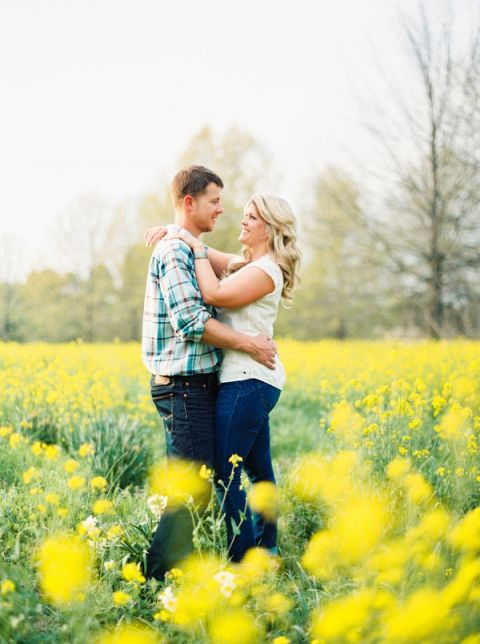 A Relaxed Tennessee Country Engagement Amont Wildflowers | JoPhoto | Blooming Spring Orchard Engagement Captured on Film