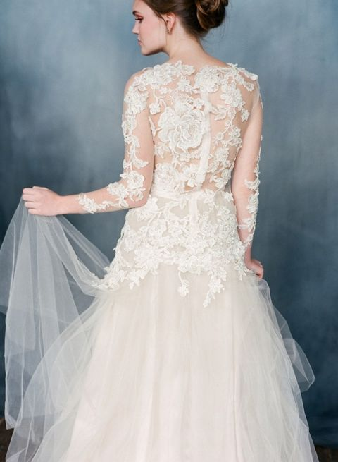 Champagne Tulle and Beaded Floral Lace - the Arabesque Wedding Dress | Corbin Gurkin Photography | French Lace and Chiffon - Emily Riggs Bridal Fall and Winter 2015