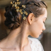 Gold Flower Bridal Headpiece | Rustic White Photography |Winter Blush - Introducing the Petras Gown by Chaviano Couture!