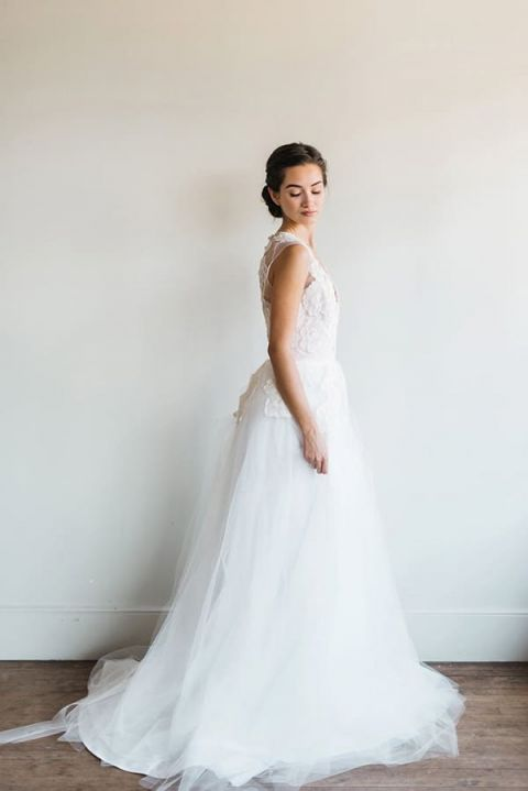 Dreamy Chiffon and Lace Wedding Dress