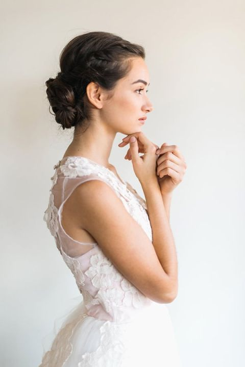Floral Lace Wedding Dress with a Braided Bridal Updo