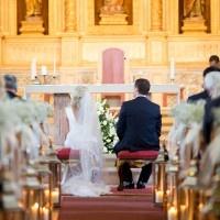 Candlelight Chapel Wedding Ceremony   Brancoprata   Stylish White and Silver Destination Wedding in Portugal