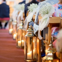 Candle Lanterns and Babys Breath Line the Aisle | Brancoprata | Stylish White and Silver Destination Wedding in Portugal