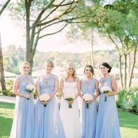 Bridesmaids in Pale Blue Gowns | Brancoprata | Stylish White and Silver Destination Wedding in Portugal