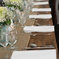 Farm Tables with Burlap Runners | Erin Johnson Photography | Rustic Winery Wedding Celebrating Natural Beauty