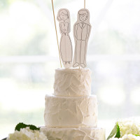 Simple Buttercream Wedding Cake with Cartoon Toppers of the Bride and Groom | Erin Johnson Photography | Rustic Winery Wedding Celebrating Natural Beauty