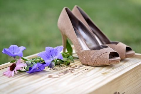 Mauve Suede Peep Toe Heels | Erin Johnson Photography | Rustic Winery Wedding Celebrating Natural Beauty