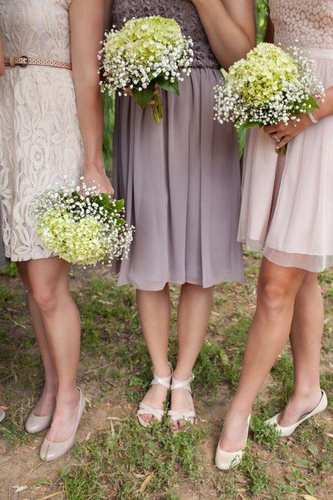 Pastel Lace and Chiffon Bridesmaid Dresses | Erin Johnson Photography | Rustic Winery Wedding Celebrating Natural Beauty
