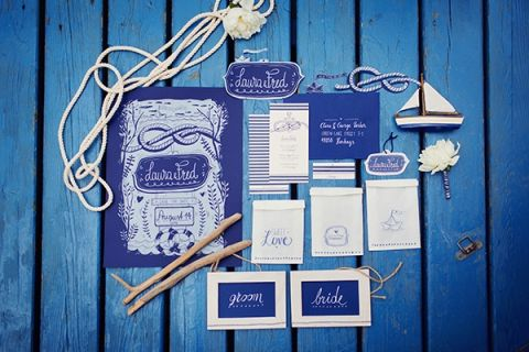 Nautical Rope Wedding Invitation Suite | peaches & mint | Fresh and Chic Nautical Seaside Wedding with Preppy Blue Stripes and Blush Flowers