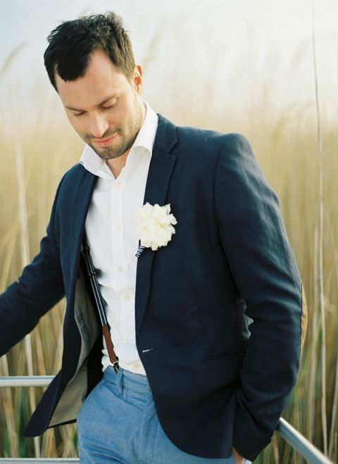 Handsome Groom in Suspenders | peaches & mint | Fresh and Chic Nautical Seaside Wedding with Preppy Blue Stripes and Blush Flowers