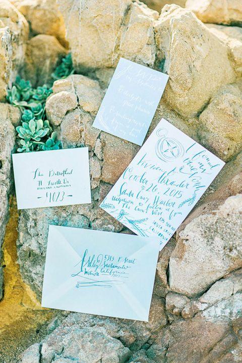 Nautical Inspired Calligraphy Wedding Invitation | Grace Aston Photography | Swept Away - Mermaid Inspired Wedding on the Coast