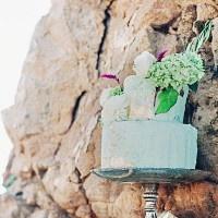 Mint and Gold Leaf Wedding Cake | Grace Aston Photography | Swept Away - Mermaid Inspired Wedding on the Coast