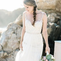 Glittering Embellished Wedding Dress | Grace Aston Photography | Swept Away - Mermaid Inspired Wedding on the Coast