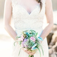 Pastel Bouquet and Glittering Wedding Dress | Grace Aston Photography | Swept Away - Mermaid Inspired Wedding on the Coast
