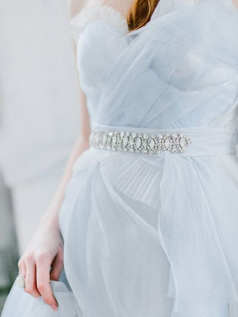 Dusty Blue Chiffon Bridesmaid Dress with a Crystal Sash
