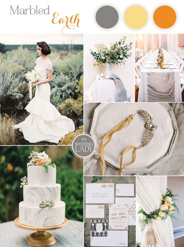 Modern Marbled Wedding Inspiration in Earthy Tones of Gray, Yellow, and Amber