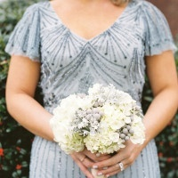 Gorgeous Beaded Bridesmaid Dress in Dusty Blue   JoPhoto   A Sparkling Blue and White Black Tie Museum Wedding on New Years Eve!