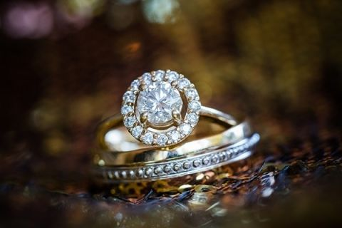 Gorgeous Halo Diamond Engagement Ring | Julie Nicole Photography | Colorful and Classic Vineyard Wedding in Northern California