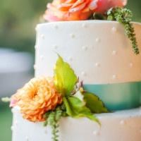 Orange, Peach, and Aqua Wedding Cake | Julie Nicole Photography | Colorful and Classic Vineyard Wedding in Northern California