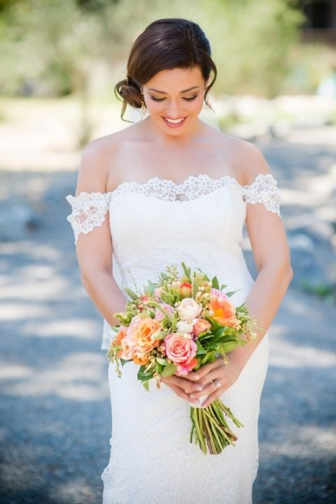 Romantic Lace Off the Shoulder Wedding Dress with a Loose Updo | Julie Nicole Photography | Colorful and Classic Vineyard Wedding in Northern California