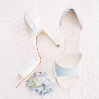 Powder Blue and White Wedding Shoes | Orange Photographie and Beargrass Gardens | Blissful Bridal Shoot - Getting Ready for the Wedding Day - https://heyweddinglady.com/blissful-bridal-shoot-getting-ready-for-the-wedding-day/