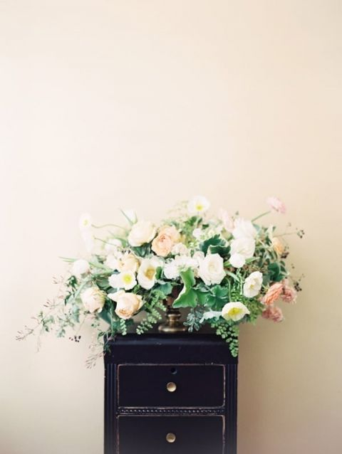Pastel Floral Arrangement with Spring Poppies | Orange Photographie and Beargrass Gardens | Blissful Bridal Shoot - Getting Ready for the Wedding Day - http://heyweddinglady.com/blissful-bridal-shoot-getting-ready-for-the-wedding-day/