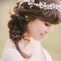 A Soft Bridal Braid and Flower Headpiece | Jenny Sun Photography | A Sweet Love Shoot with a Reem Acra Gown and DIY Details for Valentines Day!