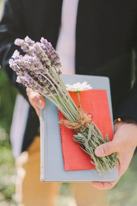 Vintage Books and Dried Lavender | Jenny Sun Photography | A Sweet Love Shoot with a Reem Acra Gown and DIY Details for Valentines Day!