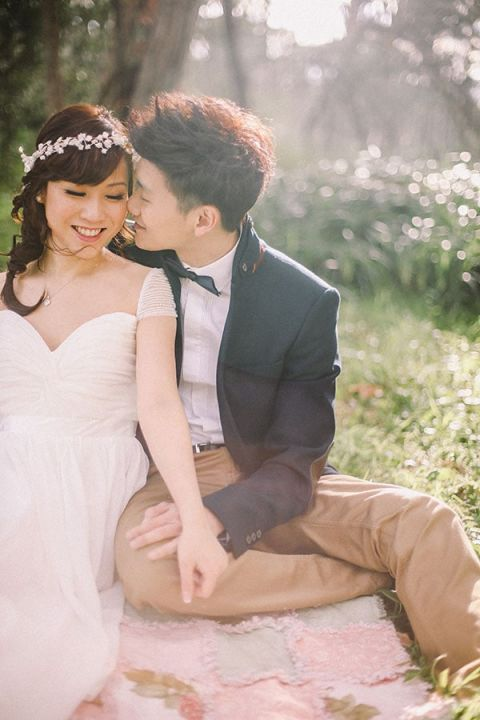 A Gorgeous Black Tie Engagement Picnic! | Jenny Sun Photography | A Sweet Love Shoot with a Reem Acra Gown and DIY Details for Valentines Day!