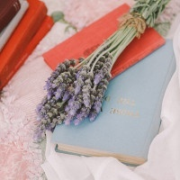 Vintage Books and Lavender | Jenny Sun Photography | A Sweet Love Shoot with a Reem Acra Gown and DIY Details for Valentines Day!