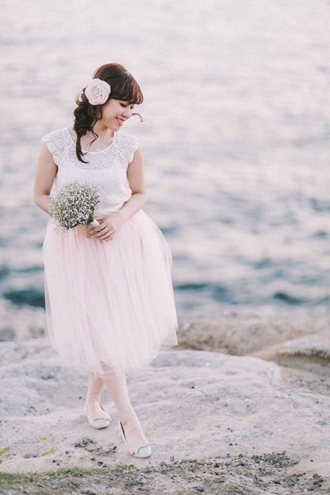 A Tulle Skirt and Lace Top for a Sweet Engagement Look | Jenny Sun Photography | A Romantic Seaside Engagement by Candlelight