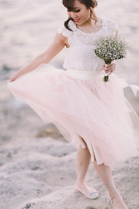 Ballerina Inspired Engagement Style | Jenny Sun Photography | A Romantic Seaside Engagement by Candlelight