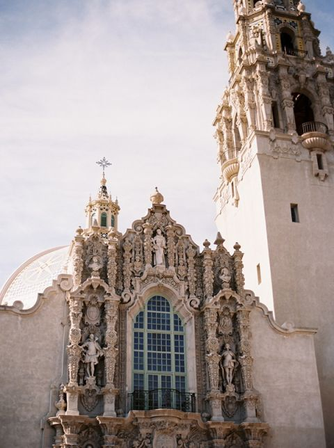 The Stunning Spanish Architecture of Balboa Park, San Diego | Katie Grant Photography | Old World Architectural Wedding Styling in Lace and Pearl