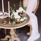 Bronze and Copper Vessels with Raw Silk Draping | Katie Grant Photography | Old World Architectural Wedding Styling in Lace and Pearl