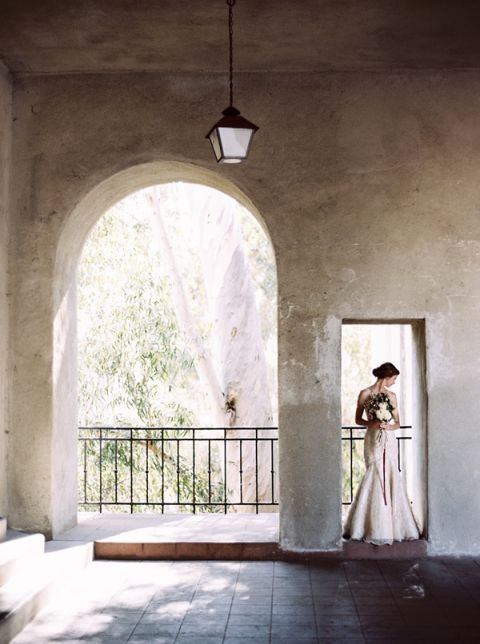 Dramatic Southern California Bridal Shoot | Katie Grant Photography | Old World Architectural Wedding Styling in Lace and Pearl