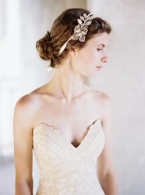 Stunning Lace Sweetheart Wedding Dress with a Jeweled Bridal Headpiece | Katie Grant Photography | Old World Architectural Wedding Styling in Lace and Pearl