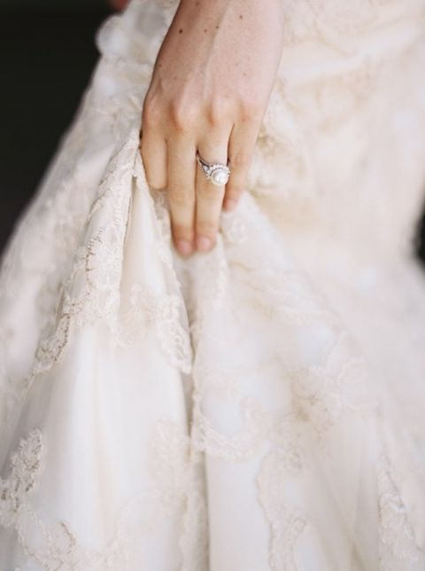 Elegant Pearl Engagement Ring | Katie Grant Photography | Old World Architectural Wedding Styling in Lace and Pearl