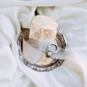 Vintage Pearl Engagement Ring | Katie Grant Photography | Old World Architectural Wedding Styling in Lace and Pearl