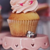 Heart Sprinkle Cupcakes and a Classic Engagement Ring | Olga Thomas Photography | Retro Pastel Wedding Shoot with French Country Style