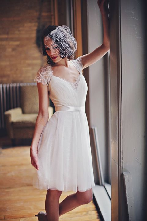 Short Wedding Dress with Lace Cap Sleeves | Olga Thomas Photography | Retro Pastel Wedding Shoot with French Country Style