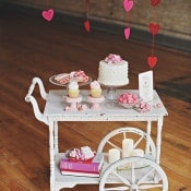 Vintage Wedding Cake and Dessert Cart | Olga Thomas Photography | Retro Pastel Wedding Shoot with French Country Style
