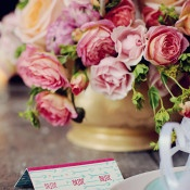 Cupids Arrow Escort Card | Olga Thomas Photography | Retro Pastel Wedding Shoot with French Country Style