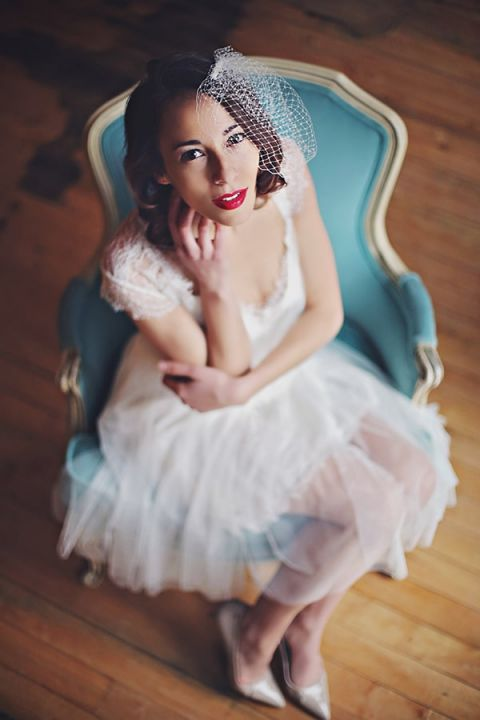 Sweet Retro Chic Bride | Olga Thomas Photography | Retro Pastel Wedding Shoot with French Country Style