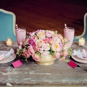 Peach, Pink, and Yellow Sweetheart Table | Olga Thomas Photography | Retro Pastel Wedding Shoot with French Country Style